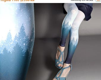 ON SALE/// Tattoo Tights - Snowy Trees white one size full length printed footless skinny tights pantyhose tattoosocks
