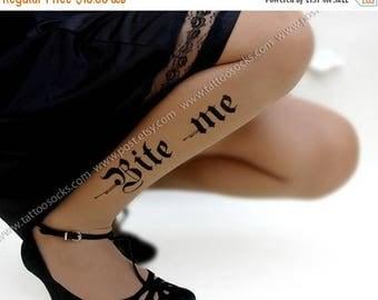 SALE///endsAug22/// sexy HALLOWEEN BITE Me tattoo thigh-high stockings cafe latte