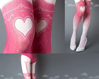SALE///Happy2018/// Tattoo Tights, Burlesque Heart garters print light pink thigh highs illusion one size full length printed tights pantyho