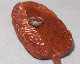 feather ring dish hand carved in copper polymer clay sculpture