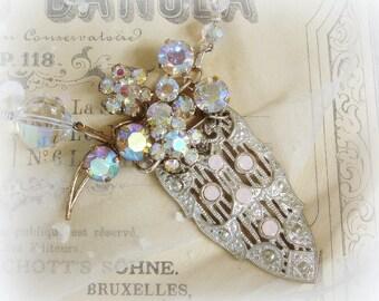 diva one of a kind vintage assemblage necklace mid century crystals deco era fur clip rhinestone brooch austria slightly asymmetrical