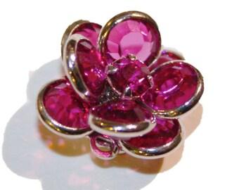 Fuchsia Swarovski Crystal Flower