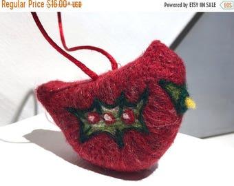 KIT SALE Wool Christmas Cardinal Ornament,  Holiday Decor, bird ornament, Needle Felted