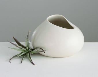 Ceramic Vase Cream, Bud Vase Off White with Altered Rim