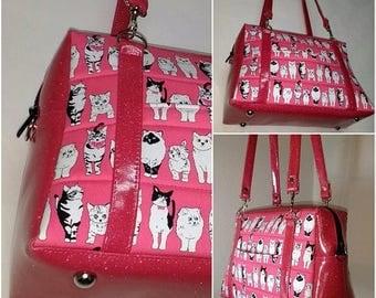 30% off Cat Handbag, Hot Pink, Cats, and Glitter Vinyl Purrfect Handbag, Crazy cat lady, Cat lover