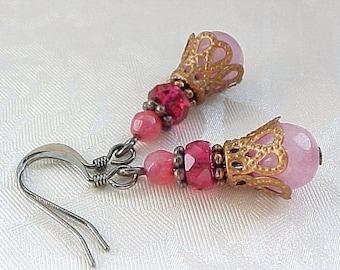 Romantic Earrings Edwardian Earrings Fuchsia Earrings Hot Pink Earrings Medieval Earrings Renaissance Earrings Antique Style