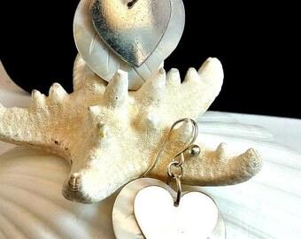 Eclipse Sale Sweetheart Earrings Vintage Two Heart Dangle Earrings 1980 Mother Of Pearl Earrings French Hook Earrings