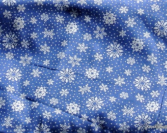 Christmas Fabric Christmas Spirit Snowman Fabric Springs Industries Fabrics Snowflake Fabric Cotton Fabric White and Blue Fabric