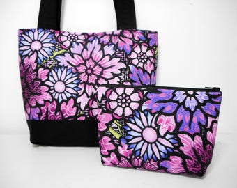 purple tote bag fabric tote bag set purple fabric purse with cosmetic pouch