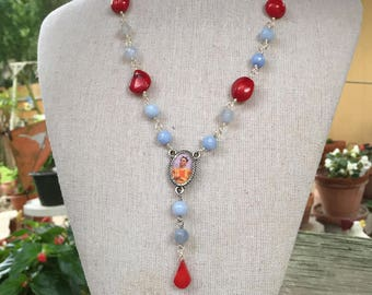 Frida Kahlo Blue Agate and Red Coral Lariat Necklace