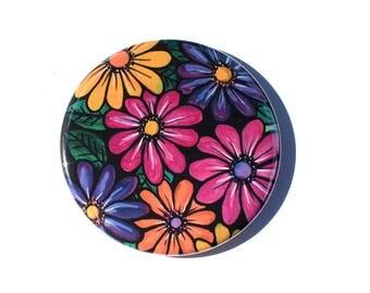 Gerber Daisy Pocket Mirror, Magnet, or Button Badge - Flower Wedding Party Favor, Stocking Stuffer, or White Elephant Gift