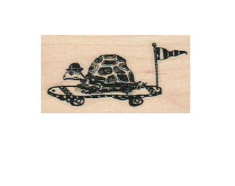 Skateboarding Turtle   rubber stamp steampunk style 19222  Mary Vogel Lozinak pinkflamingo61