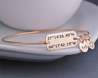Gold Latitude Longitude Bracelet, Anniversary Gift for Wife, Christmas Gift for Her, Custom Coordinate Jewelry, Location Jewelry