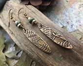 Connemara Marble, Bronze Earrings, Fern Earrings, Long Skinny Earrings, Dangle Earrings, Irish Celtic Jewelry, Shield Earrings, Bronze Ferns