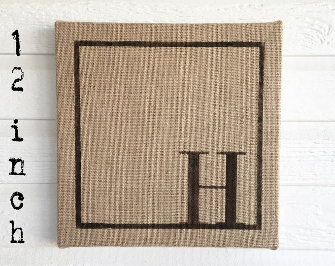 Classic Monogram 12x12  Burlap Covered Cork Message Board   Personalized Letter  Pin Board, Cork Board, Bulletin Board, Memo Board  - Custom