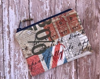 Vintage Print Union Jack Change Purse Small Pouch Coin Purse Money Holder Gift Under 10 Organizer bag  Gift for her Zipper Pouch