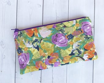 Floral Pencil Pouch Zipper Pouch Floral Pencil Case Zipper Case Pencil Bag Back To School Gift For Her Makeup Bag School Supplies