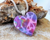 Dichroic Valentine Pendant, Pink Dichroic Heart Pendant, Silk and Satin Glass Necklace, Fused Glass Necklace, Glass Slide