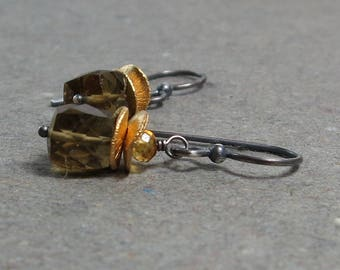 Whiskey Quartz, Citrine Earrings Geometric Jewelry Oxidized Sterling Silver Mixed Metal Earrings Gift for Her