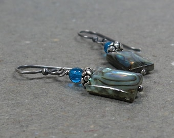 Abalone Shell Earrings Paua, Glass Beads Oxidized Sterling Silver Earrings Gift for Her