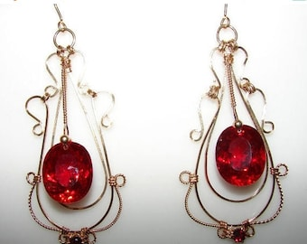 Moving Sale 40% Off CIJ 14K Gold Filled Red Topaz and Garnet Earrings