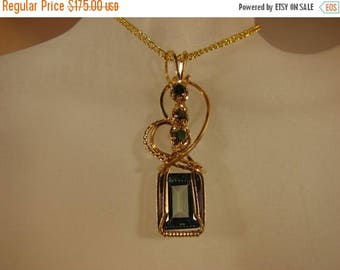 Moving Sale 40% Off Yellow 14k Rolled Gold Blue Topaz with Blue Sapphires Pendant
