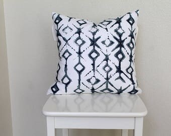 """Couch throw pillow Cover, Invisible zipper, closure, Indigo dye, blue. 18"""" square Home decor, cushion, white, gray, baby nursery pillow, bed"""