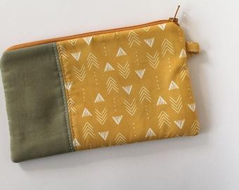 zipper pouch, cash envelope, Eyeglass case, Pen pencil, cash wallet, Cosmetic makeup case, Mustard yellow, bag, sunglasses case, khaki