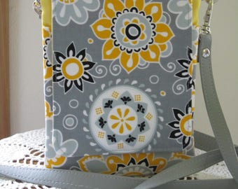 Mini Travel Hipster Passport Bag 3 Pockets Removable Shoulder Strap Made in USA Funky Flowers in Gray and Yellow