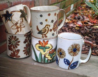 Vintage Stoneware Mug Lot - 5 Earth Tone Folk Art Coffee Cups / Mugs - 1970s Birds Flowers & Foliage Retro Cup Collection Nature Lovers Gift