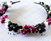 Vanity Faerie Flower & Leaf Crown - Wreath - Tiara - Headband - Prom - Bridal - Wedding - Halloween