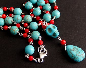 Turquoise Sugar Skull Necklace, Howlite Coral Rosary Style, Wire Wrapped, Blue Teardrop Necklace