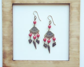 Brass and Red Glass Fringe Earrings