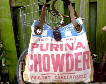 Purina Chowder - Poultry Concentrate - Open Tote - Americana Upcycle Vintage OOAK Canvas & Leather Tote... Selina Vaughan Studios