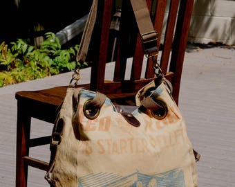 Red Rose Pig Starter - Piglets! - Open Tote - Americana OOAK Canvas & Leather Tote... Selina Vaughan Studios
