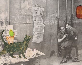 Original Collage on Paper-Italian Newspaper Stand & Cats