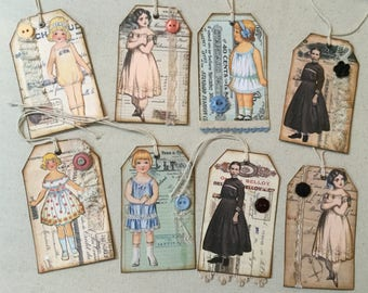 Eight 4 inch junk journal tags
