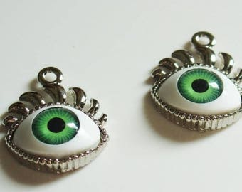 20% Off Sale 20mm x 25mm EyeBall With Eye Lashes Pendant/Charm - Green - 2 Pieces - 1650