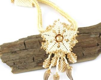 Peyote Stitch Necklace, Cream Necklace, Beaded Necklace, Flower Necklace
