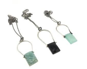 Faceted stone necklace amazonite necklace onyx necklace blue quartz necklace