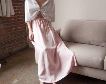 pink linen maxi skirt / light pink natural fiber skirt / woven long skirt / s / m / l / 2645t