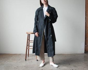 black rain trench coat / oversized belted trench coat / black rain coat / s / m / 2326o / R4