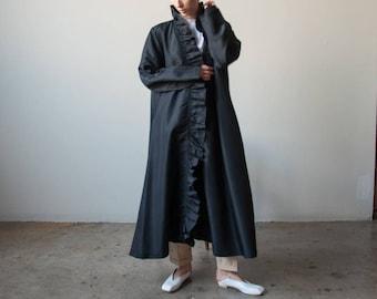 black ruffle taffeta coat / floor length coat / voluminous coat / s / m / l / 2355o