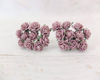 20 10mm mulberry mauve roses - 1 cm paper flowers