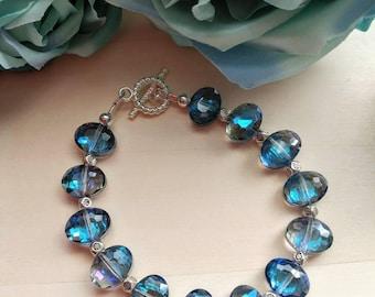 Faceted Glass Iridescent Blue Beaded Bracelet