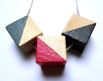 Triangle natural wood statement necklace - hand painted silver chain black fuchsia grey limited edition square modern