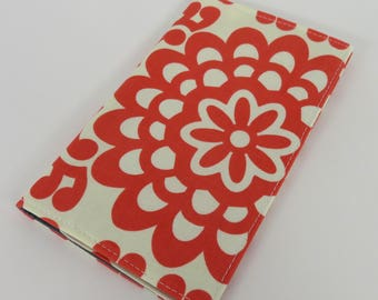 Checkbook Cover Case Cheque Book Receipts  - Red Wallflower - Amy Butler Fabric