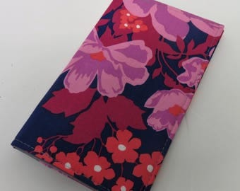 Checkbook Cover Case Cheque Coupons Receipts Check Book Money Holder - Multi Color Flowers Floral on Navy Blue Fabric