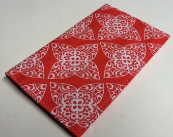Checkbook Cover Case Cheque Coupons Money Holder - White Swirl on Coral Fabric