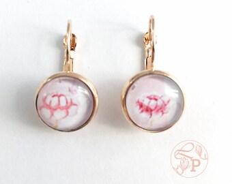 Vintage floral rose gold earrings / rose gold pierced earring / rose gold jewellery / shabby floral jewelry gift / pale pink / vintage roses